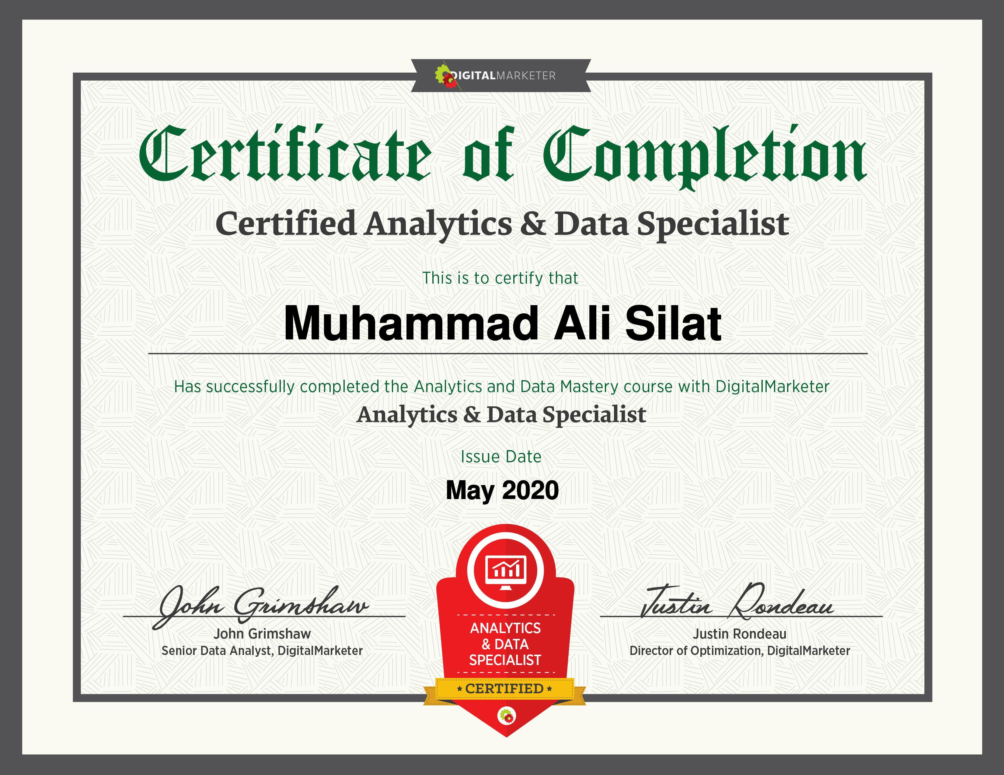 Analytics And Data Mastery Certificate